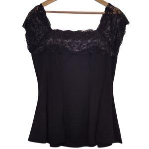 Finesse Black Lace Peplum Blouse Size 2XL